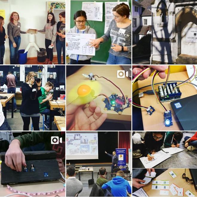 Hier sind neun kleine Bilder von Instagram-Posts quadratisch angeordnet.
