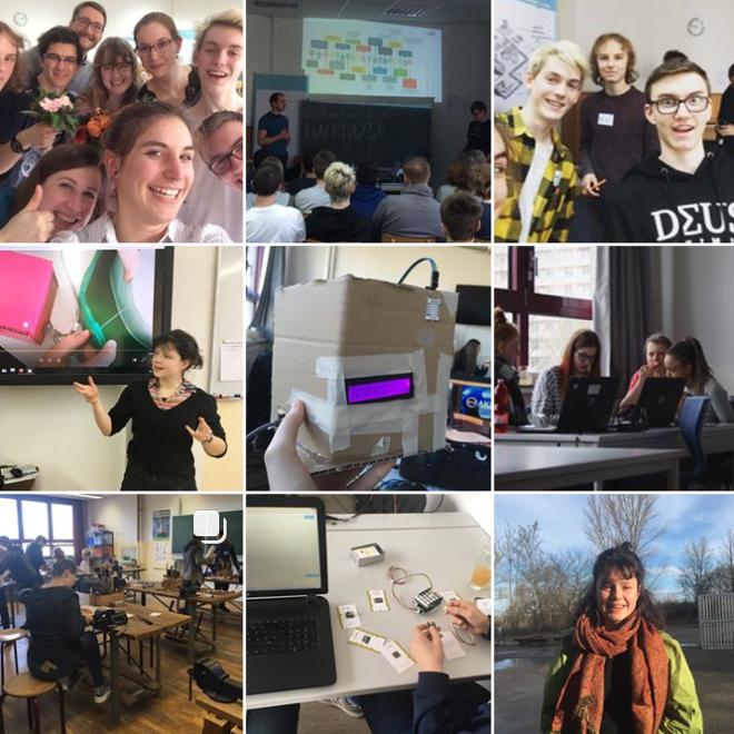 Auf den Bildern ist die Instagram-Bildergalerie von Make Your School abgebildet