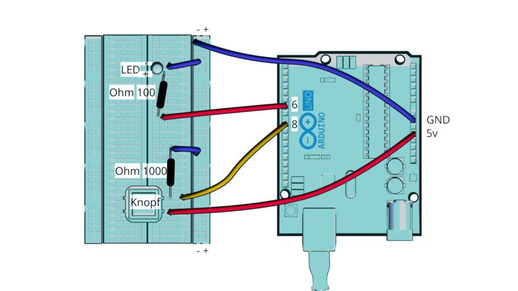 Grafische Zeichnung eines Arduino Uno, der mit Kabeln an einem Breadboard verbunden ist.