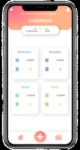 Eine Bildschirmaufnahme einer App ist zu erkennen. Verschiedene Fächer wie Mathematik und Biologie werden, gemeinsam mit einer Zeitangabe der verbliebenen Tage zum Lernen, angezeigt