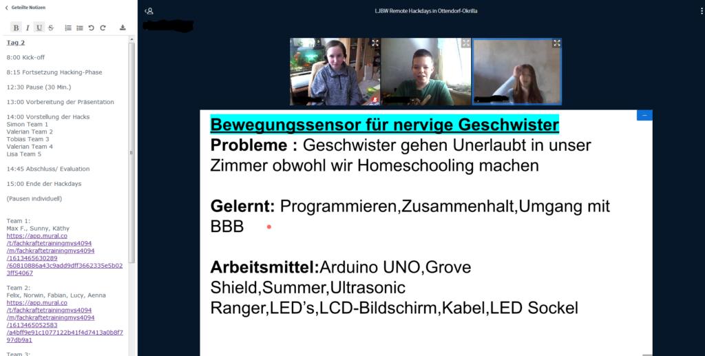 In einer Online-Videoplattform sind drei jugendliche zu erkennen, die eine Bildschirmpräsentation teilen auf der steht, was sie bei den Remote-Hackdays gelernt haben.